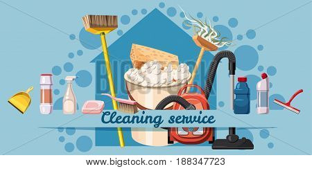 Cleaning service banner horizontal concept. Cartoon illustration of cleaning service banner horizontal vector concept for web