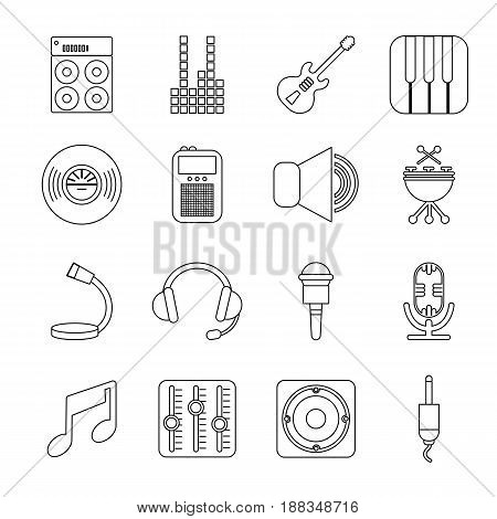 Recording studio symbols icons set. Outline illustration of 16 recording studio symbols vector icons for web