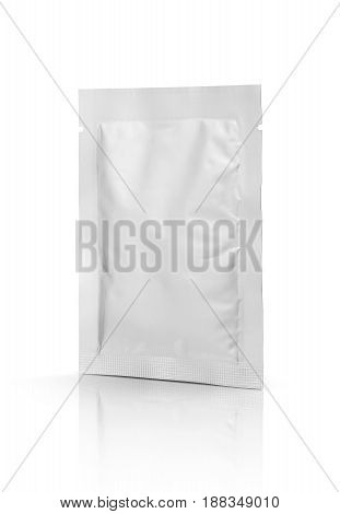 blank packaging foil sachet isolated on white background with clipping path