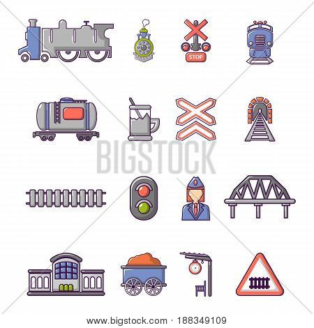 Train railroad icons set. Cartoon illustration of 16 train railroad vector icons for web