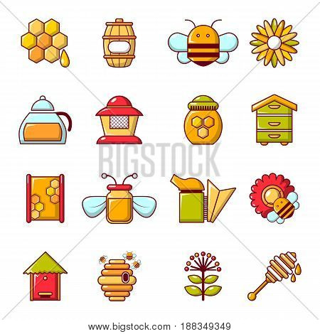 Apiary honey icons set. Cartoon illustration of 16 apiary honey vector icons for web