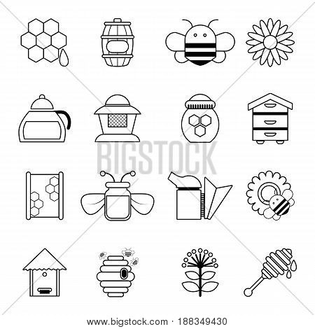 Apiary honey icons set. Outline illustration of 16 apiary honey vector icons for web
