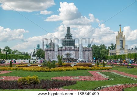 Moscow, Russia - May 27, 2017: Tulips On Vdnkh
