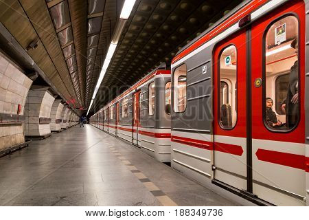 Prague, Czech Republic - March 19, 2017: A train arriving at the Museum metro station