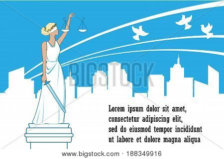 Goddess of justice Themis on the city background. Justice Day vector. Peace, safety and immunity concept. Themis statue and happy city behind