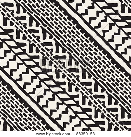 Hand Drawn Painted Seamless Pattern. Vector Tribal Design Background. Ethnic Motif. Geometric Ethnic