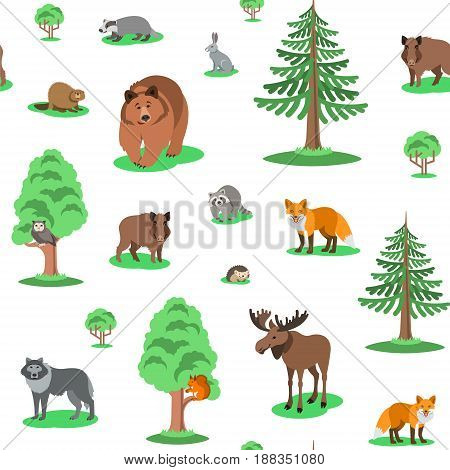 Cute forest animals seamless background pattern. Vector cartoon illustration. Wild zoo mammals with green trees on white backdrop. Kids wallpaper, wrapping paper, textile print, book cover design