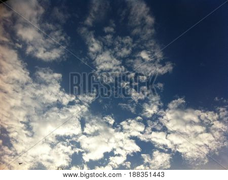 this pictures represents a blue sky with many white clouds