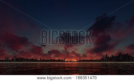 this picture represents a red sunset sky with skyscrapers skyline