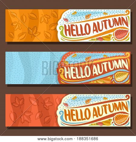 Vector set horizontal banners for Autumn season: 3 layouts with falling leaves background, rain fall template with title text - hello autumn, flyers with rainfall drops backdrop, october rainy weather