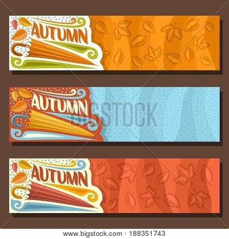 Vector set horizontal banners for Autumn season: 3 layouts with falling leaves background, rain fall template with title text - autumn, flyers with rainfall drops backdrop, umbrella for rainy weather.
