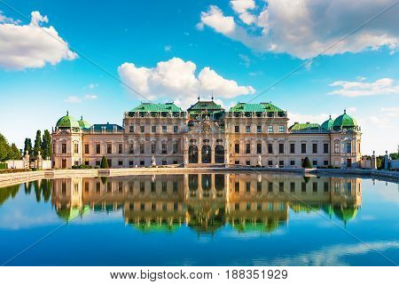 Scenic city summer view of the Belvedere Palace achitecture building in the Old Town of Vienna, Austria
