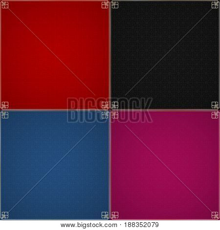 Abstract pattern. A set of backgrounds for your projects. Pattern in Chinese style. The golden frame. United circles and rhombuses. Vector illustration