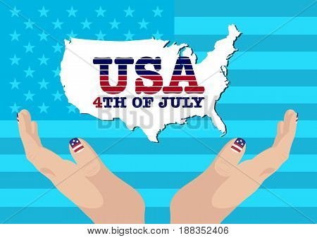 Creative Fourth of July Independence Day Poster. USA Flag Background. USA Country Map. Vector Illustration.