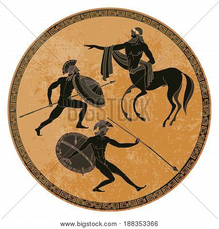 Ancient Greek mythology set. Ancient Greece scene. Black figure pottery. Classical Ancient Greek style. Gods hero mythology