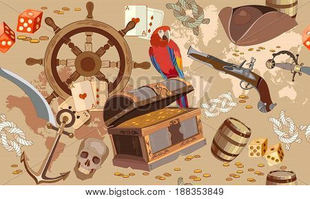 Old pirate treasure map seamless pattern. Treasure chest parrot steering wheel skull rum saber pirate hat. Adventure stories seamless background