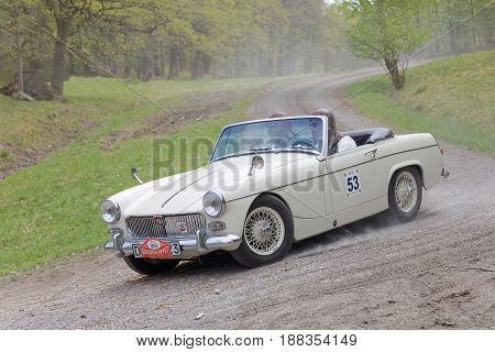 STOCKHOLM SWEDEN - MAY 22 2017: White BMC MG Midget ME 111 classic car from 1968 driving on a country road in the public race Gardesloppet in the forests at Djurgarden Stockholm Sweden. May 22 2017