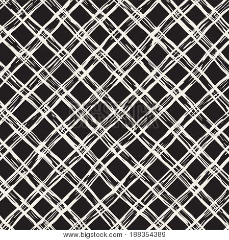 Hand Drawn Seamless Plaid Pattern. Allover Pattern With Ink Doodle Grunge Grid. Graphic Background W