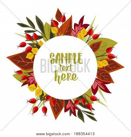 Vector Illustration Autumn leaves decoration with rose hip