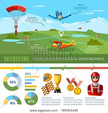 Skydiving teamwork infographic championship on jumps from parachute extreme sport. Skydiver jumps from an airplane vector