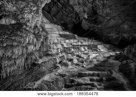Caves and cave formations in the canyon of the river next to Bor in Serbia