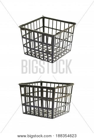 Plastic cage box as a food packing plastic tray isolated over the white background