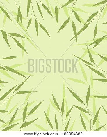 Vector Illustration bamboo leaves. Background with green leaves