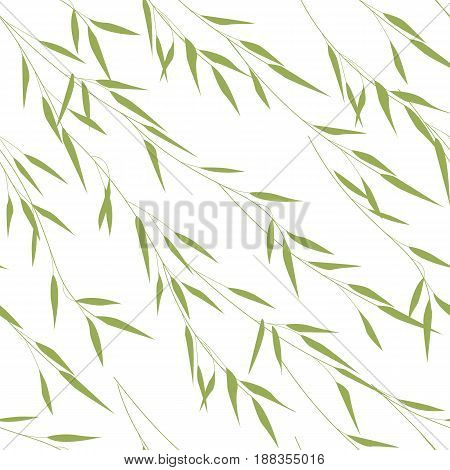 Vector Illustration seamless pattern of bamboo green leaves