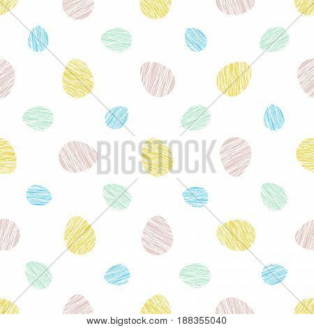 Bright colored eggs on the white background. Seamless scratched pattern. Simple abstract texture. For decoration, wallpaper, web page bg.