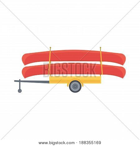 Yellow trailer with red canoe, vector illustration in flat design style