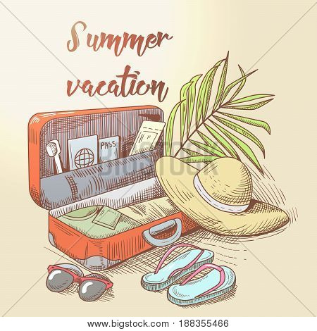 Summer Beach Vacation. Tropical Trip. Hand Drawn Design with Luggage and Palm Tree Leaves. Vector illustration