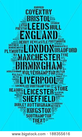 Localities in England word cloud concept on dark background