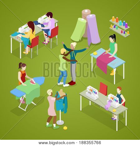 Isometric Dressmaker Salon Atelier with Tailor. Sewing and Knitting. Woman Making Clothes. Vector flat 3d illustration