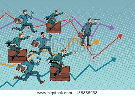 Competition in the business world. Pop art retro vector illustration. businessmen running forward