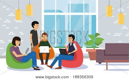Young people discussing and working with laptop and tablet sitting at colorful bean bags. Casual Corporate Couch Sitting Conceptual illustration vector.