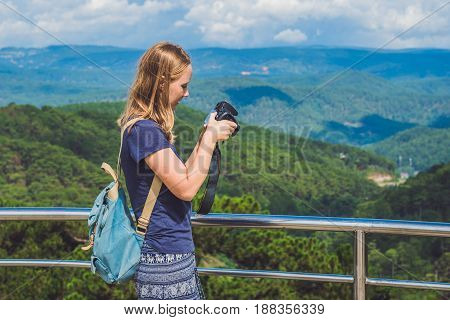 Tourist Traveler Photographer Taking Pictures Of Amazing Landscape On Photo Camera On Background Val