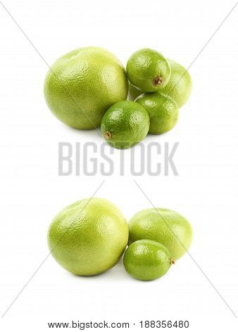Pile of green tropical fruits isolated over the white background