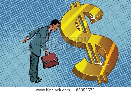 businessman and Finance, the man rested his forehead in dollars. African American people. Pop art retro vector illustration