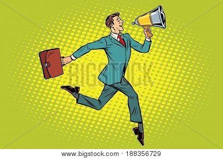elegant businessman with megaphone. Pop art retro vector illustration