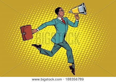 elegant businessman with megaphone. African American people. Pop art retro vector illustration