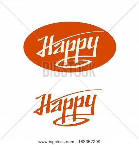 happy text logo phrase  vector lettering set