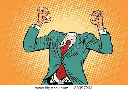 mock-up businessman without a head. Pop art retro vector illustration