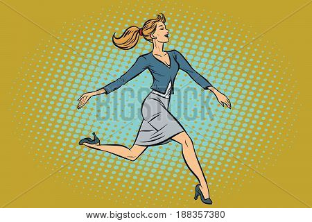 Beautiful businesswoman elegantly runs. Pop art retro vector illustration