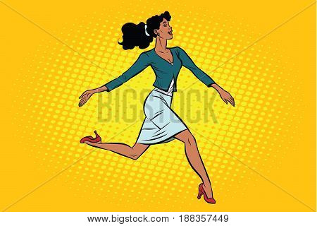Beautiful businesswoman elegantly runs. African American people. Pop art retro vector illustration