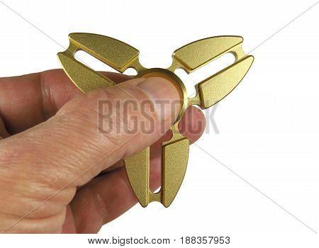 Golden Fidget Spinner Toy Isolated