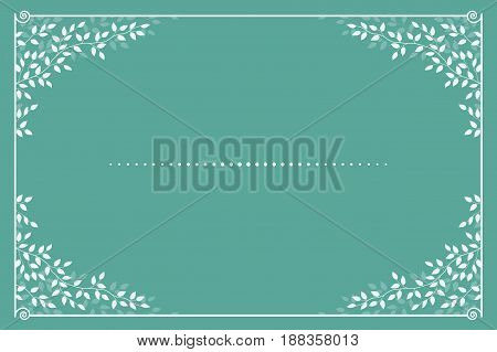 blue romantic invitation card template with branches and leaves