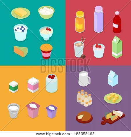 Milk Industry Production. Dairy Products with Milk Bottle, Cream and Cheese. Isometric vector flat 3d illustration
