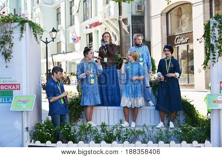 Moscow Russia - may 06.2017. Group IL Kanto at festival acappella of Moscow Spring on Street Kuznetsk bridge