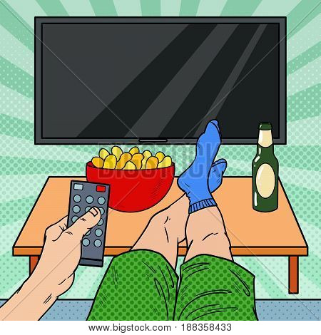 Watching TV. Man Holding Remote Control in Living Room. Pop Art vector illustration