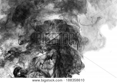 black smoke swirling on a white background